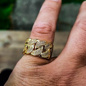14k Gold Plated Iced Out Cuban Link Ring
